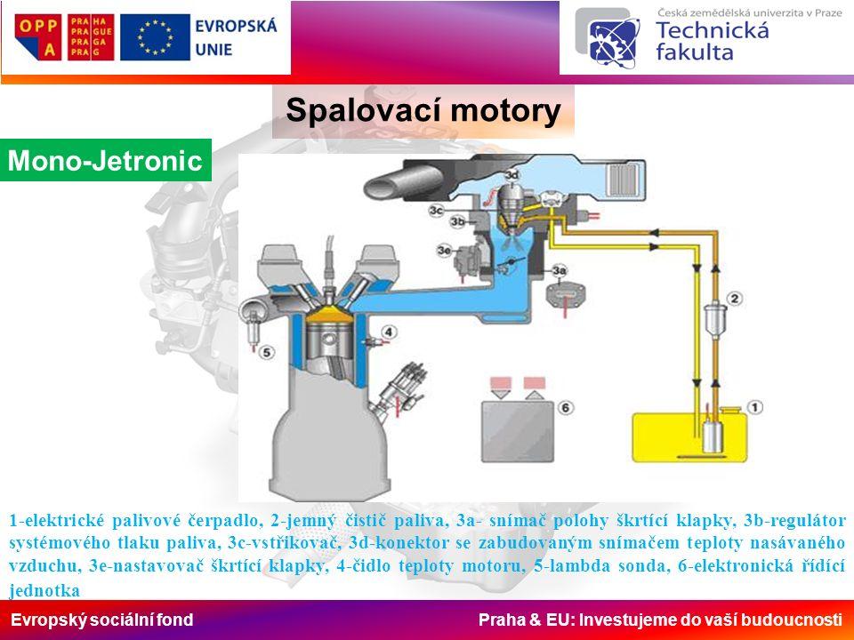 Evropský sociální fond Praha & EU: Investujeme do vaší budoucnosti Spalovací motory Mono-Jetronic 1-elektrické palivové čerpadlo, 2-jemný čistič paliva, 3a- snímač polohy škrtící klapky, 3b-regulátor systémového tlaku paliva, 3c-vstřikovač, 3d-konektor se zabudovaným snímačem teploty nasávaného vzduchu, 3e-nastavovač škrtící klapky, 4-čidlo teploty motoru, 5-lambda sonda, 6-elektronická řídící jednotka