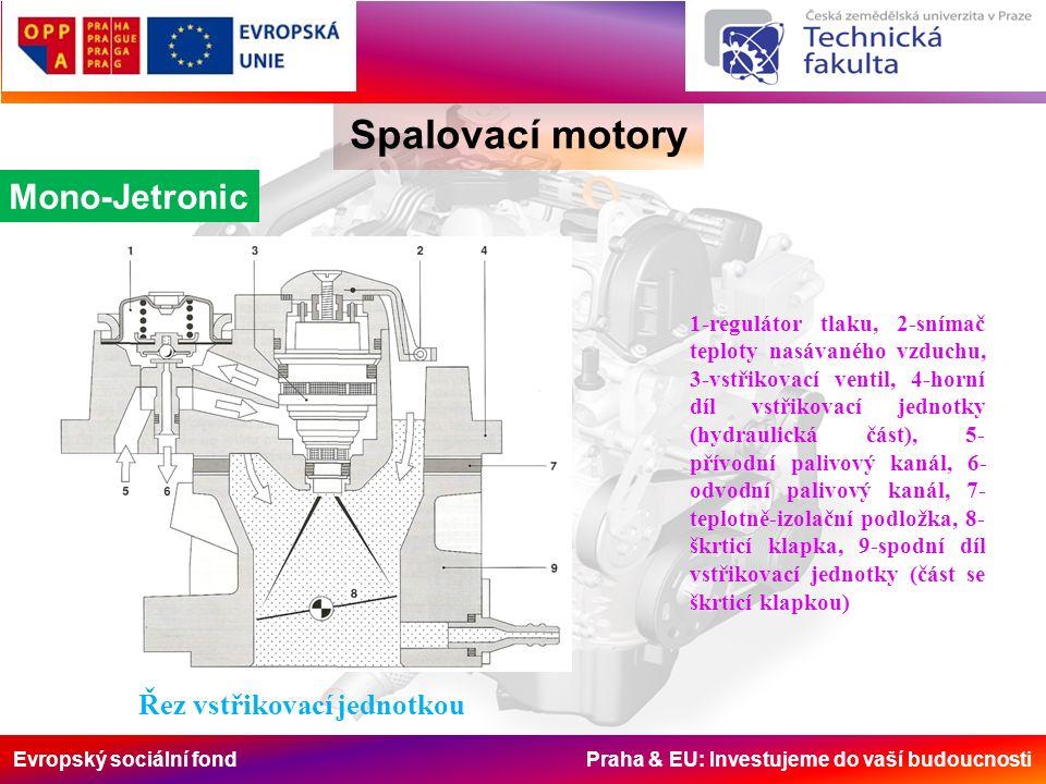 Evropský sociální fond Praha & EU: Investujeme do vaší budoucnosti Spalovací motory Mono-Jetronic Řez vstřikovací jednotkou 1-regulátor tlaku, 2-sníma