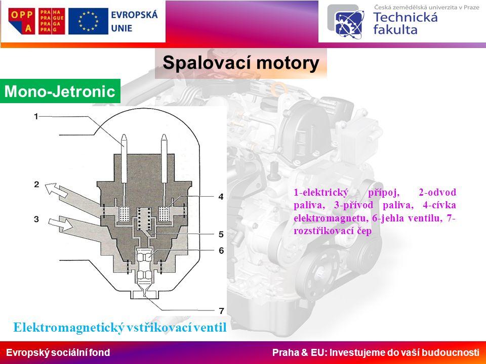 Evropský sociální fond Praha & EU: Investujeme do vaší budoucnosti Spalovací motory Mono-Jetronic Elektromagnetický vstřikovací ventil 1-elektrický př