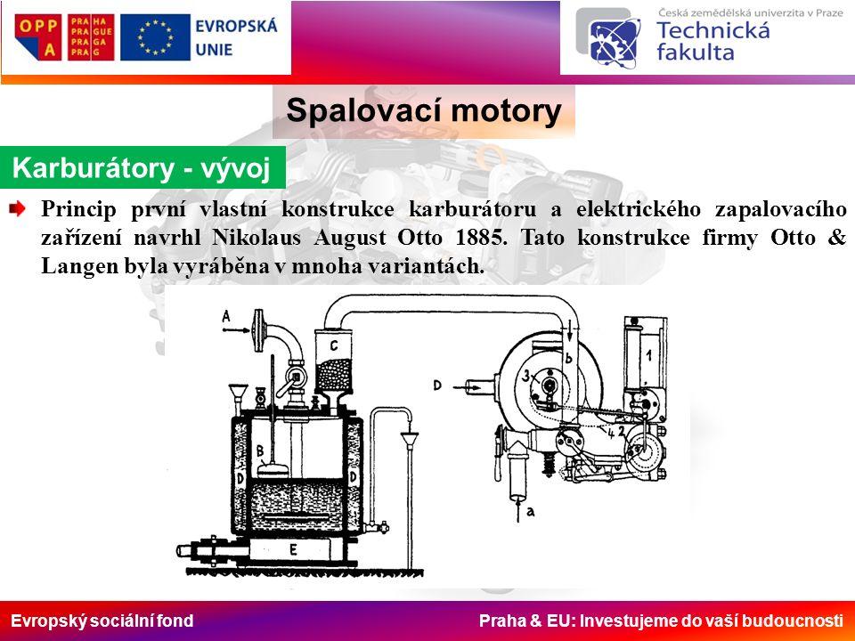 Evropský sociální fond Praha & EU: Investujeme do vaší budoucnosti Spalovací motory Karburátory - vývoj Princip první vlastní konstrukce karburátoru a elektrického zapalovacího zařízení navrhl Nikolaus August Otto 1885.