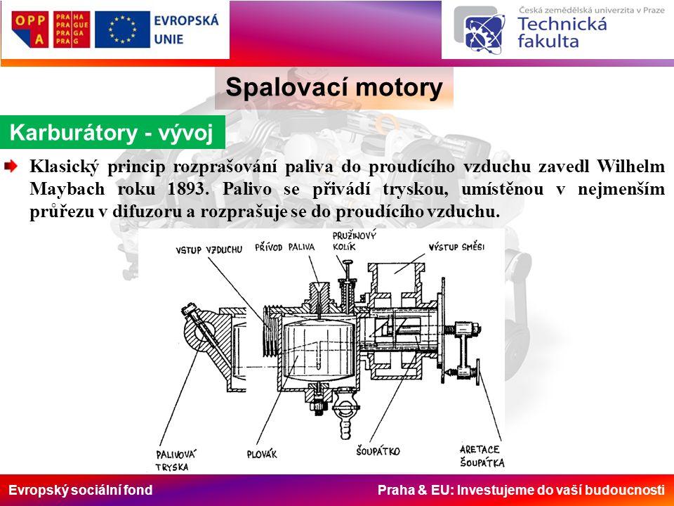 Evropský sociální fond Praha & EU: Investujeme do vaší budoucnosti Spalovací motory Karburátory - vývoj Klasický princip rozprašování paliva do proudícího vzduchu zavedl Wilhelm Maybach roku 1893.