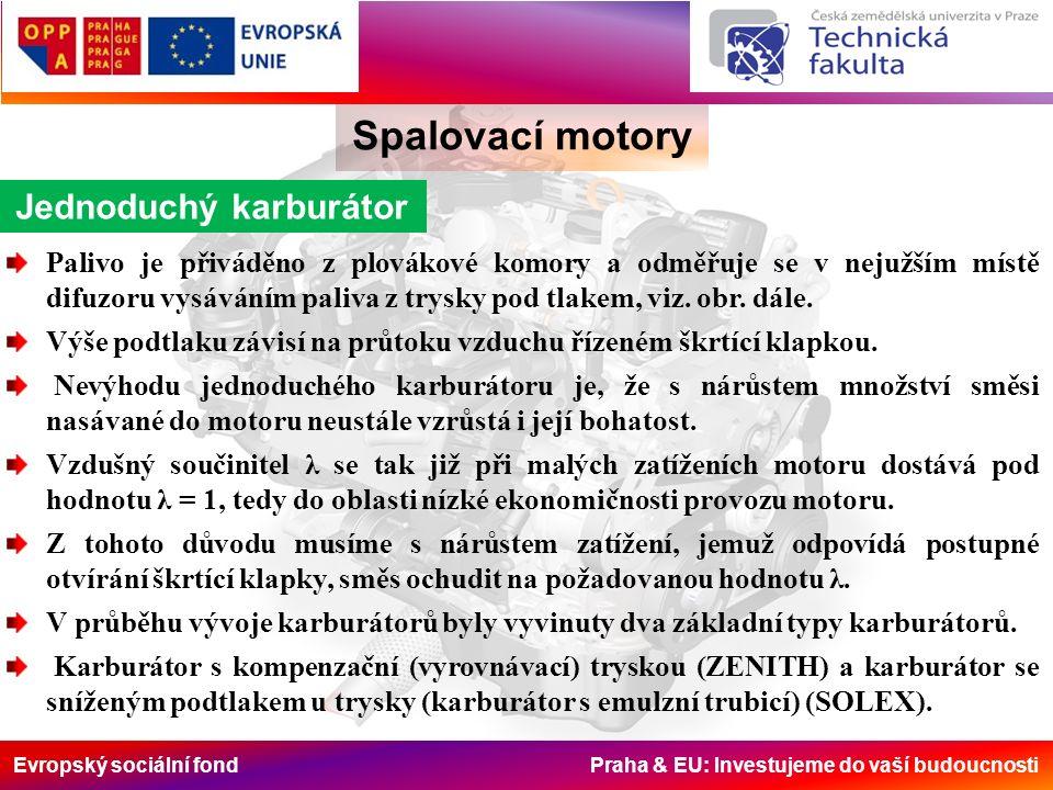Evropský sociální fond Praha & EU: Investujeme do vaší budoucnosti Spalovací motory Jednoduchý karburátor Palivo je přiváděno z plovákové komory a odměřuje se v nejužším místě difuzoru vysáváním paliva z trysky pod tlakem, viz.