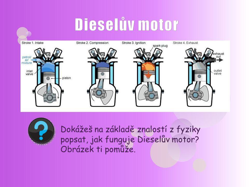 Dokážeš na základě znalostí z fyziky popsat, jak funguje Dieselův motor? Obrázek ti pomůže.