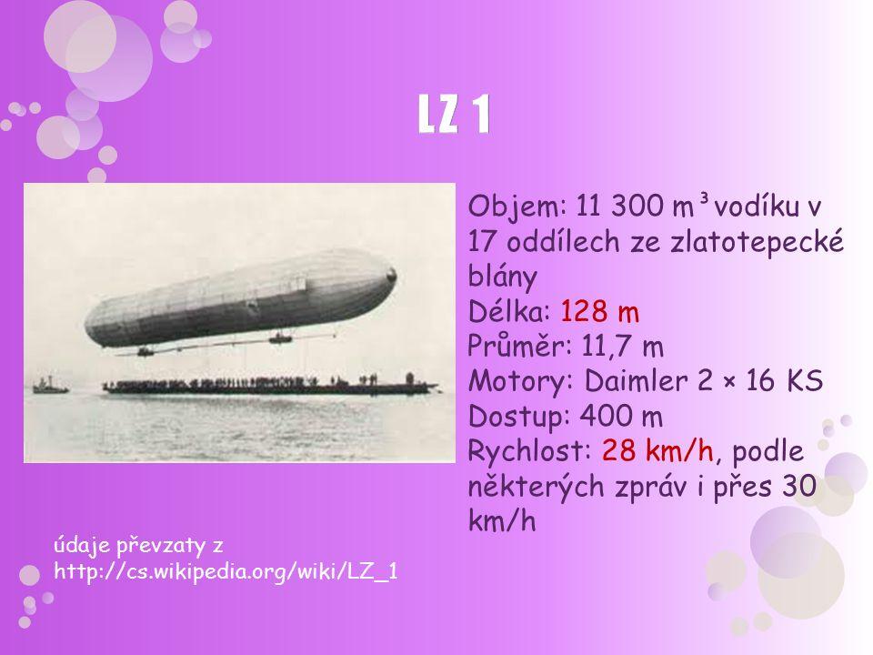 Objem: 11 300 m³vodíku v 17 oddílech ze zlatotepecké blány Délka: 128 m Průměr: 11,7 m Motory: Daimler 2 × 16 KS Dostup: 400 m Rychlost: 28 km/h, podl