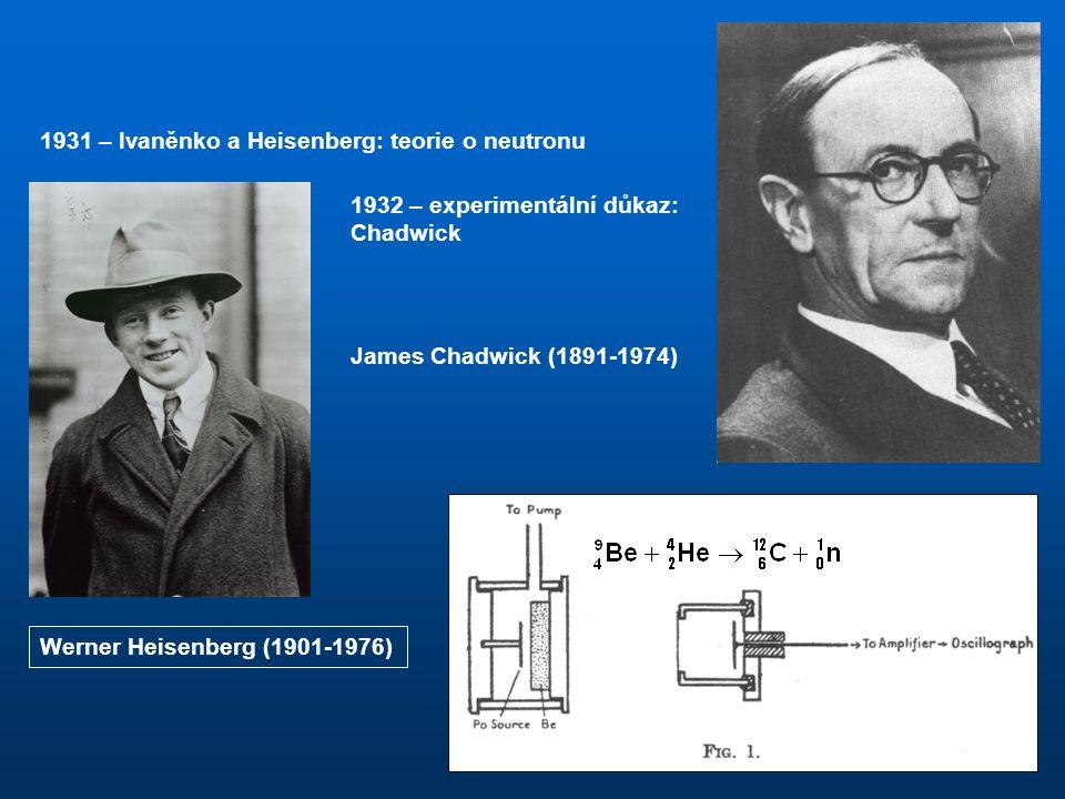 Atomové jádro Vývoj představ o složení jader 1896 Becquerel – radioaktivní záření – z některých atomů vycházejí elektrony s energiemi až 1 MeV, ty nemohou pocházet z obalu, musejí vycházet z jádra 1 hypotéza: jádro tvoří A protonů a A – Z elektronů: celkový náboj: tato představa vede ke dvěma sporům: Jádro obsahuje podle hypotézy celkem 21 částic (14 protonů a 7 elektronů), všechny částice jsou fermiony, jádro by mělo být také fermionem a skupina jader by se měla řídit statistickým rozdělení Fermiho-Diracovým a podléhat Pauliho vylučovacímu principu.