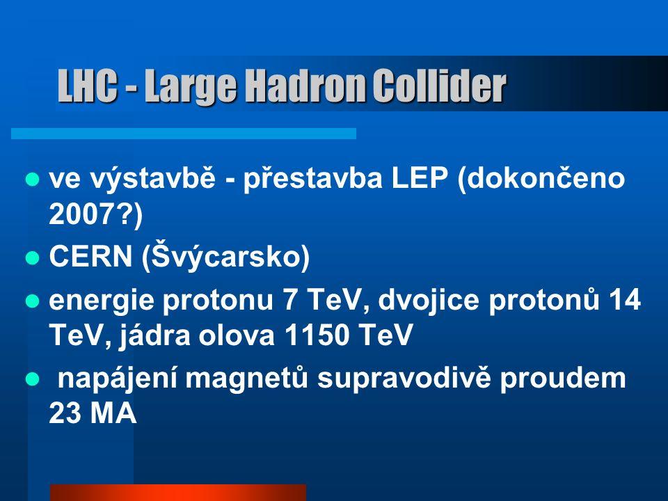 největší urychlovače současnosti TEVATRON FERMILAB (USA) 1000 GeV HERA DESY (Hamburg) 820 GeV Deutsches Elektronen-Synchrotron) SPS CERN (Švýcarsko) 450 GeV LHC - Large Hadron Collider (ve výstavbě) CERN (Švýcarsko) 7 TeV, dvojice protonů 14 TeV, jádra olova 1150 TeV
