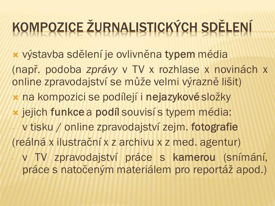  výstavba sdělení je ovlivněna typem média (např. podoba zprávy v TV x rozhlase x novinách x online zpravodajství se může velmi výrazně lišit)  na k