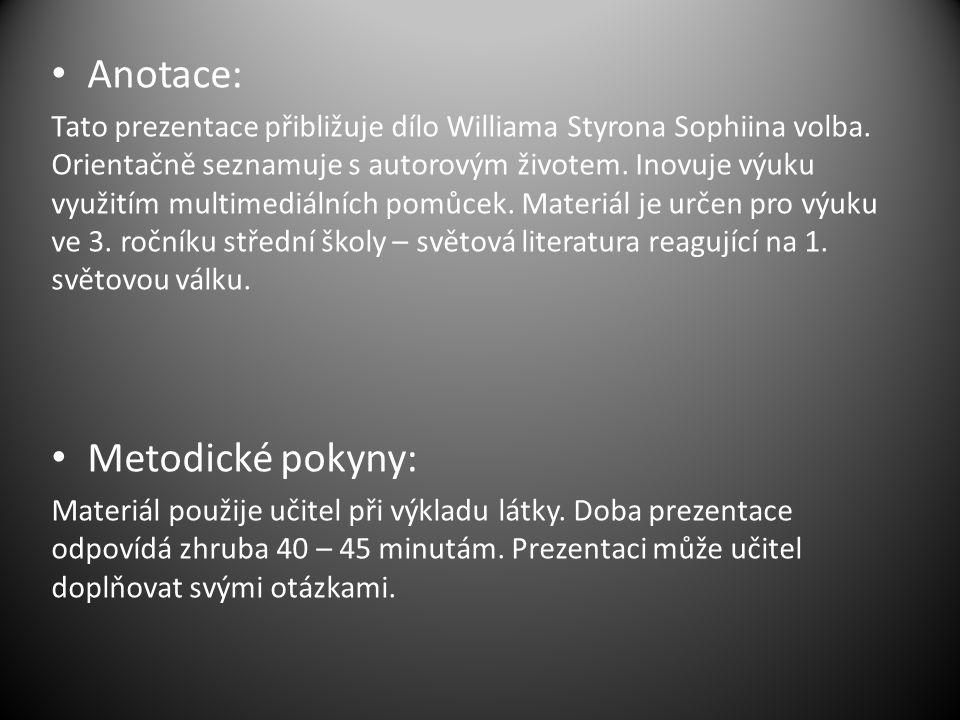 Anotace: Tato prezentace přibližuje dílo Williama Styrona Sophiina volba.