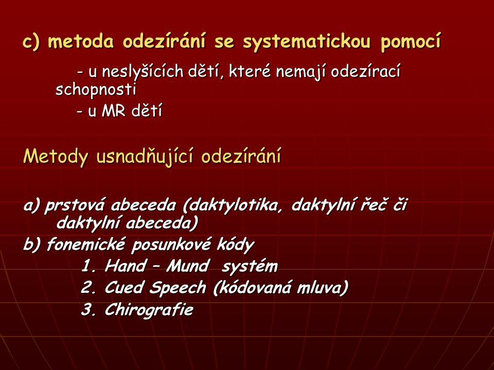 c) metoda odezírání se systematickou pomocí - u neslyšících dětí, které nemají odezírací schopnosti - u neslyšících dětí, které nemají odezírací schopnosti - u MR dětí - u MR dětí Metody usnadňující odezírání a) prstová abeceda (daktylotika, daktylní řeč či daktylní abeceda) b) fonemické posunkové kódy 1.