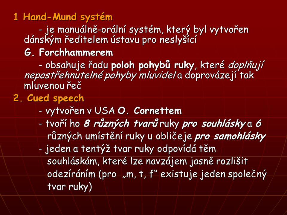 1 Hand-Mund systém - je manuálně-orální systém, který byl vytvořen dánským ředitelem ústavu pro neslyšící - je manuálně-orální systém, který byl vytvořen dánským ředitelem ústavu pro neslyšící G.