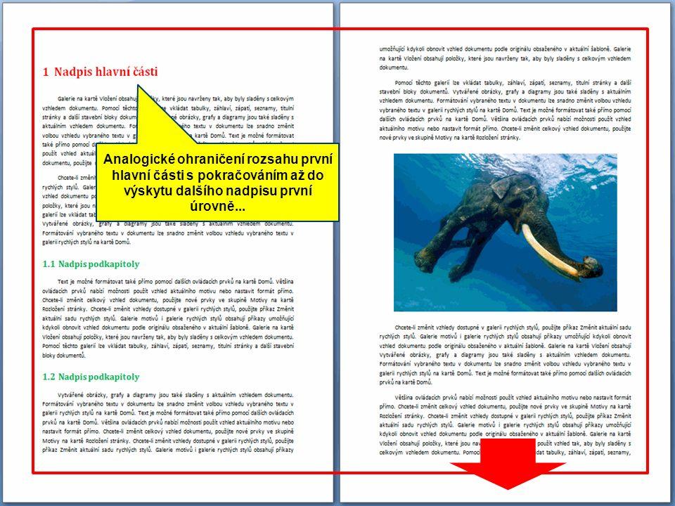 Nad rámec běžné odstavcové sazby se v dokumentu objevují specifické nároky na členění a formátování - u této titulní strany ještě vystačíme se zarovnáním a vertikálním odsazením odstavců...