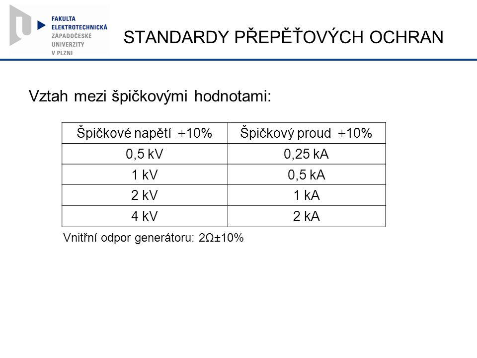 STANDARDY PŘEPĚŤOVÝCH OCHRAN Vztah mezi špičkovými hodnotami: Špičkové napětí ±10%Špičkový proud ±10% 0,5 kV0,25 kA 1 kV0,5 kA 2 kV1 kA 4 kV2 kA Vnitřní odpor generátoru: 2Ω±10%