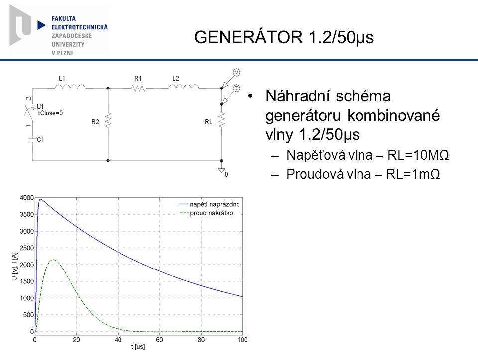 GENERÁTOR 1.2/50µs Náhradní schéma generátoru kombinované vlny 1.2/50µs –Napěťová vlna – RL=10MΩ –Proudová vlna – RL=1mΩ