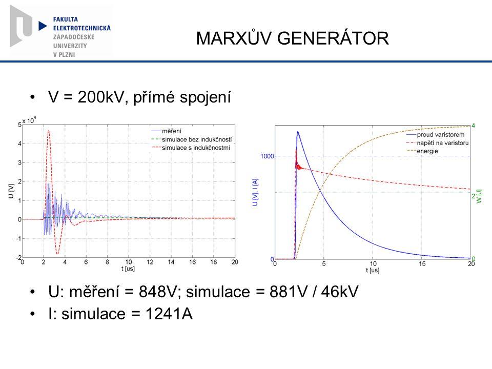 MARXŮV GENERÁTOR V = 200kV, přímé spojení U: měření = 848V; simulace = 881V / 46kV I: simulace = 1241A