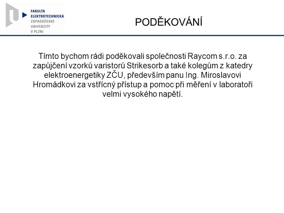 PODĚKOVÁNÍ Tímto bychom rádi poděkovali společnosti Raycom s.r.o.