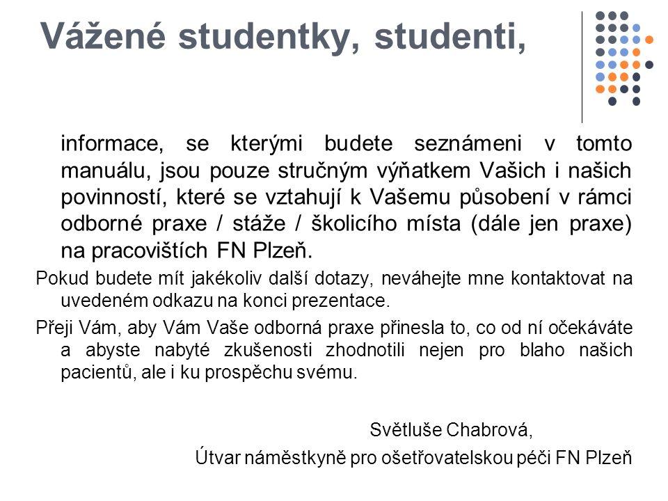 Vážené studentky, studenti, informace, se kterými budete seznámeni v tomto manuálu, jsou pouze stručným výňatkem Vašich i našich povinností, které se vztahují k Vašemu působení v rámci odborné praxe / stáže / školicího místa (dále jen praxe) na pracovištích FN Plzeň.