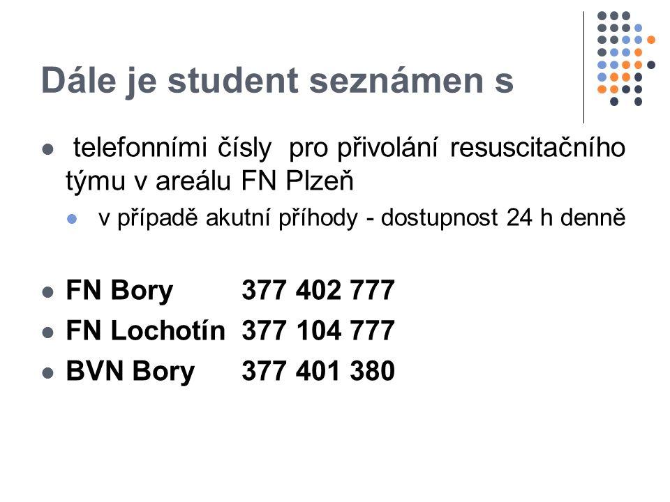 Dále je student seznámen s telefonními čísly pro přivolání resuscitačního týmu v areálu FN Plzeň v případě akutní příhody - dostupnost 24 h denně FN Bory377 402 777 FN Lochotín 377 104 777 BVN Bory377 401 380