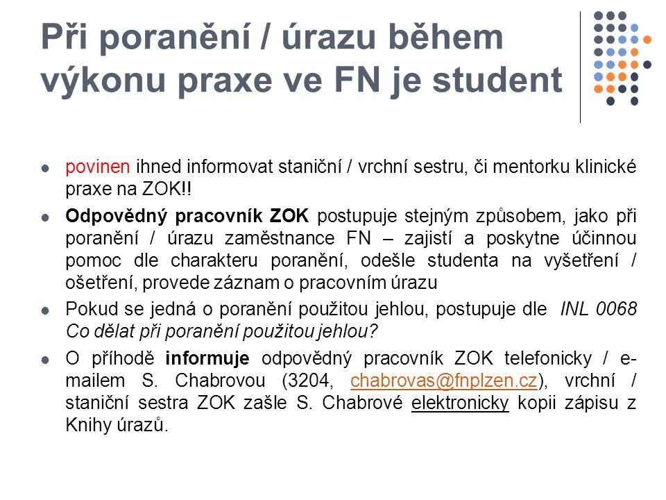 Při poranění / úrazu během výkonu praxe ve FN je student povinen ihned informovat staniční / vrchní sestru, či mentorku klinické praxe na ZOK!.