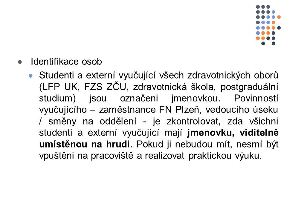 Identifikace osob Studenti a externí vyučující všech zdravotnických oborů (LFP UK, FZS ZČU, zdravotnická škola, postgraduální studium) jsou označeni jmenovkou.