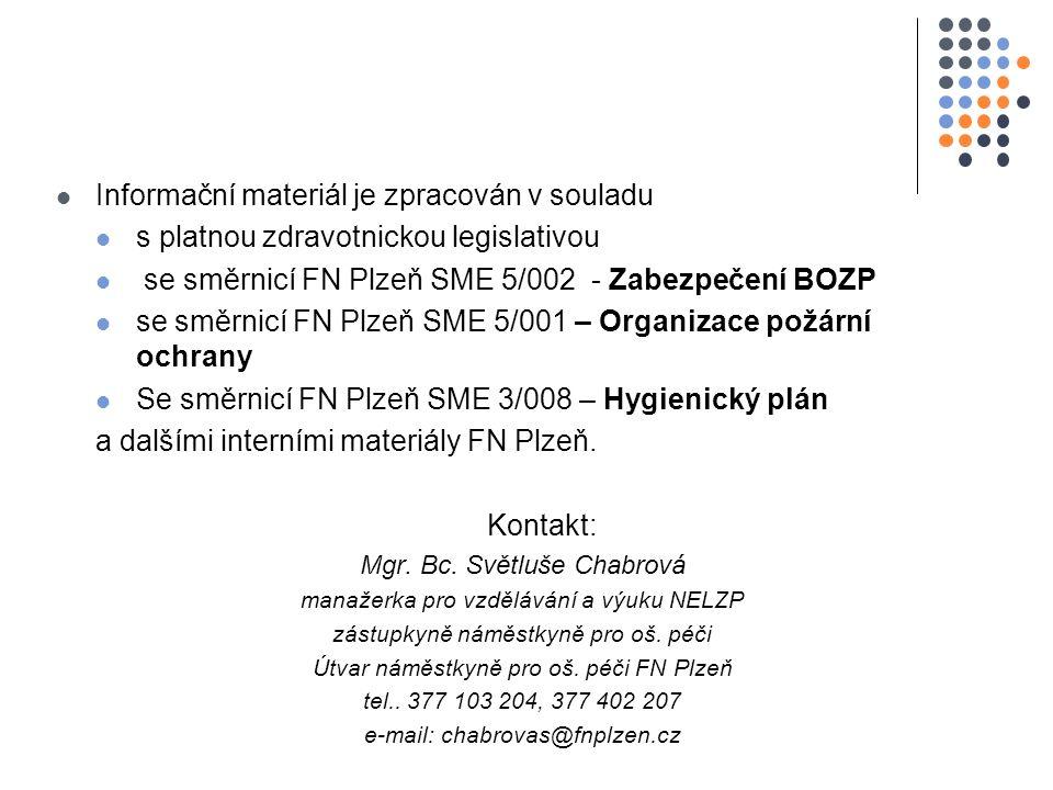 Informační materiál je zpracován v souladu s platnou zdravotnickou legislativou se směrnicí FN Plzeň SME 5/002 - Zabezpečení BOZP se směrnicí FN Plzeň SME 5/001 – Organizace požární ochrany Se směrnicí FN Plzeň SME 3/008 – Hygienický plán a dalšími interními materiály FN Plzeň.