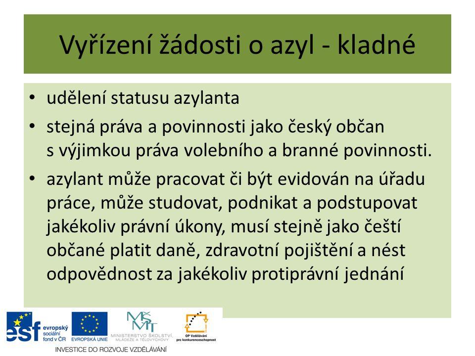 Vyřízení žádosti o azyl - kladné udělení statusu azylanta stejná práva a povinnosti jako český občan s výjimkou práva volebního a branné povinnosti.