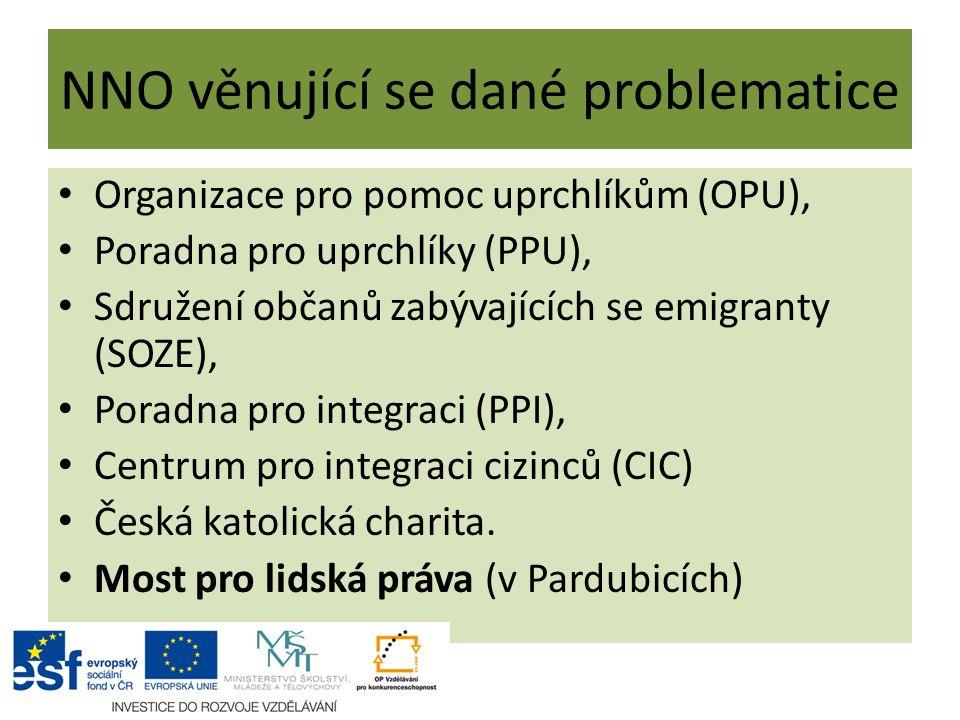 NNO věnující se dané problematice Organizace pro pomoc uprchlíkům (OPU), Poradna pro uprchlíky (PPU), Sdružení občanů zabývajících se emigranty (SOZE), Poradna pro integraci (PPI), Centrum pro integraci cizinců (CIC) Česká katolická charita.