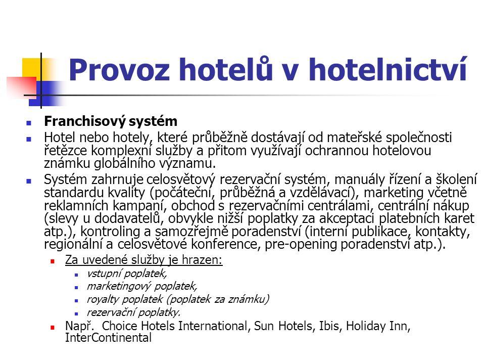 Provoz hotelů v hotelnictví Franchisový systém Hotel nebo hotely, které průběžně dostávají od mateřské společnosti řetězce komplexní služby a přitom využívají ochrannou hotelovou známku globálního významu.