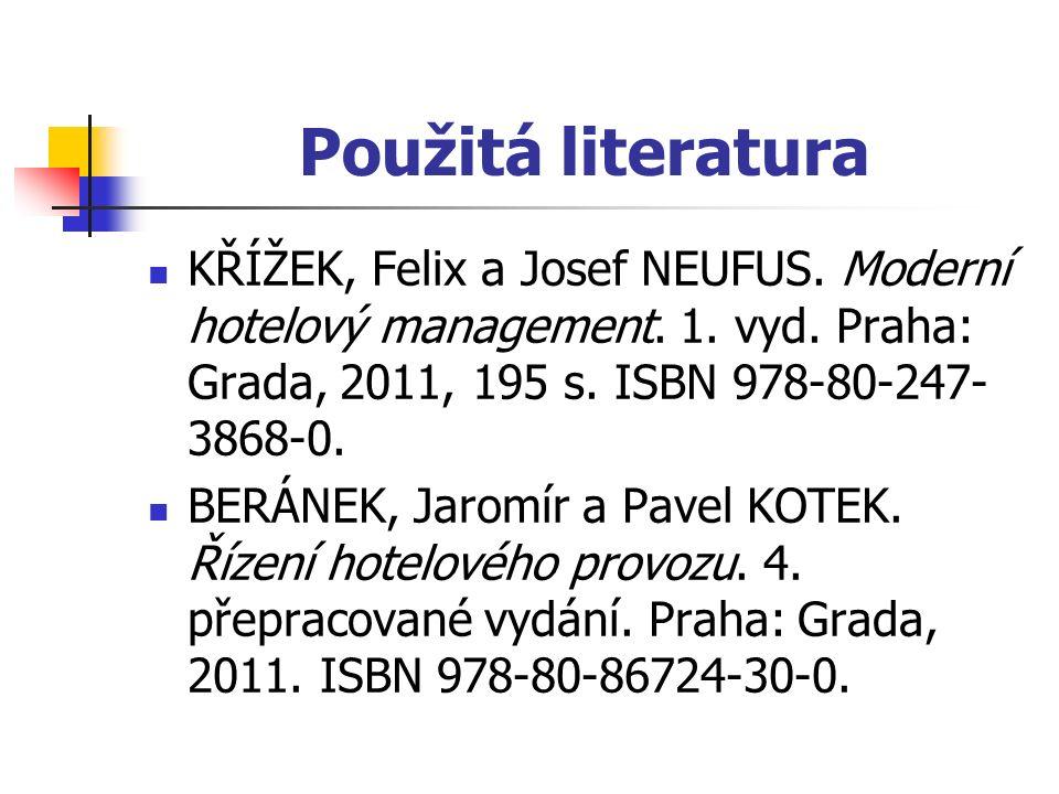 Použitá literatura KŘÍŽEK, Felix a Josef NEUFUS. Moderní hotelový management.