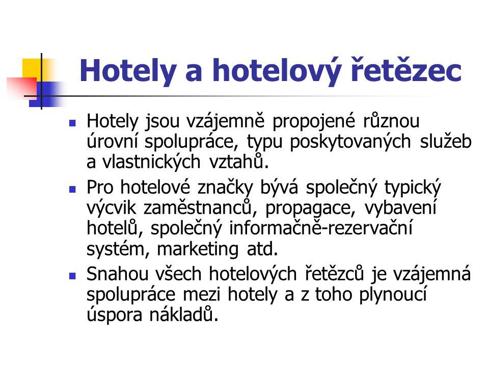 Hotely a hotelový řetězec Hotely jsou vzájemně propojené různou úrovní spolupráce, typu poskytovaných služeb a vlastnických vztahů.