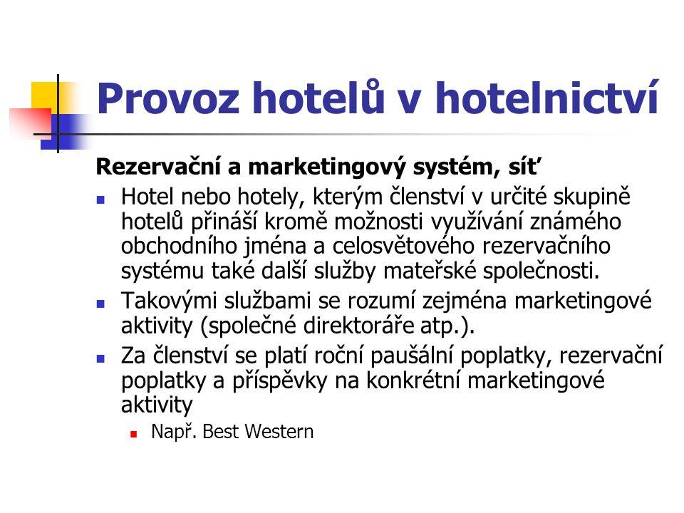 Provoz hotelů v hotelnictví Rezervační a marketingový systém, síť Hotel nebo hotely, kterým členství v určité skupině hotelů přináší kromě možnosti využívání známého obchodního jména a celosvětového rezervačního systému také další služby mateřské společnosti.