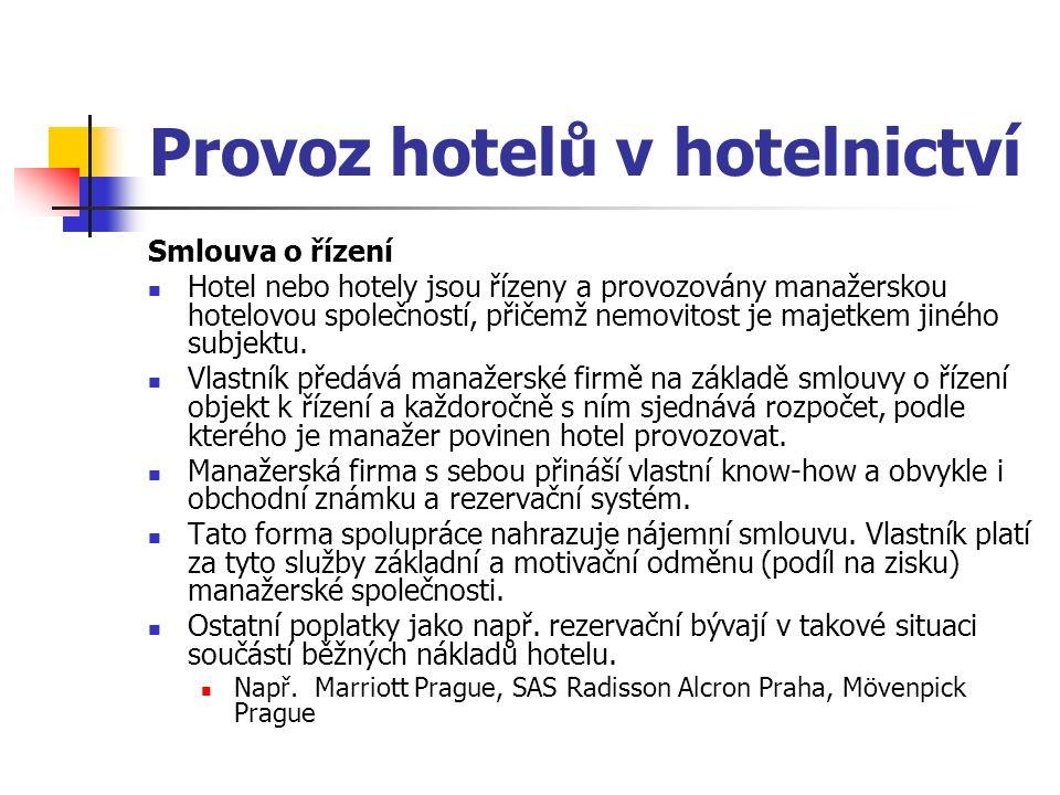 Provoz hotelů v hotelnictví Smlouva o řízení Hotel nebo hotely jsou řízeny a provozovány manažerskou hotelovou společností, přičemž nemovitost je majetkem jiného subjektu.