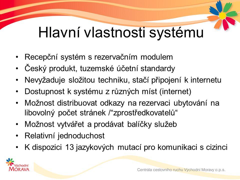 Hlavní vlastnosti systému Recepční systém s rezervačním modulem Český produkt, tuzemské účetní standardy Nevyžaduje složitou techniku, stačí připojení k internetu Dostupnost k systému z různých míst (internet) Možnost distribuovat odkazy na rezervaci ubytování na libovolný počet stránek / zprostředkovatelů Možnost vytvářet a prodávat balíčky služeb Relativní jednoduchost K dispozici 13 jazykových mutací pro komunikaci s cizinci