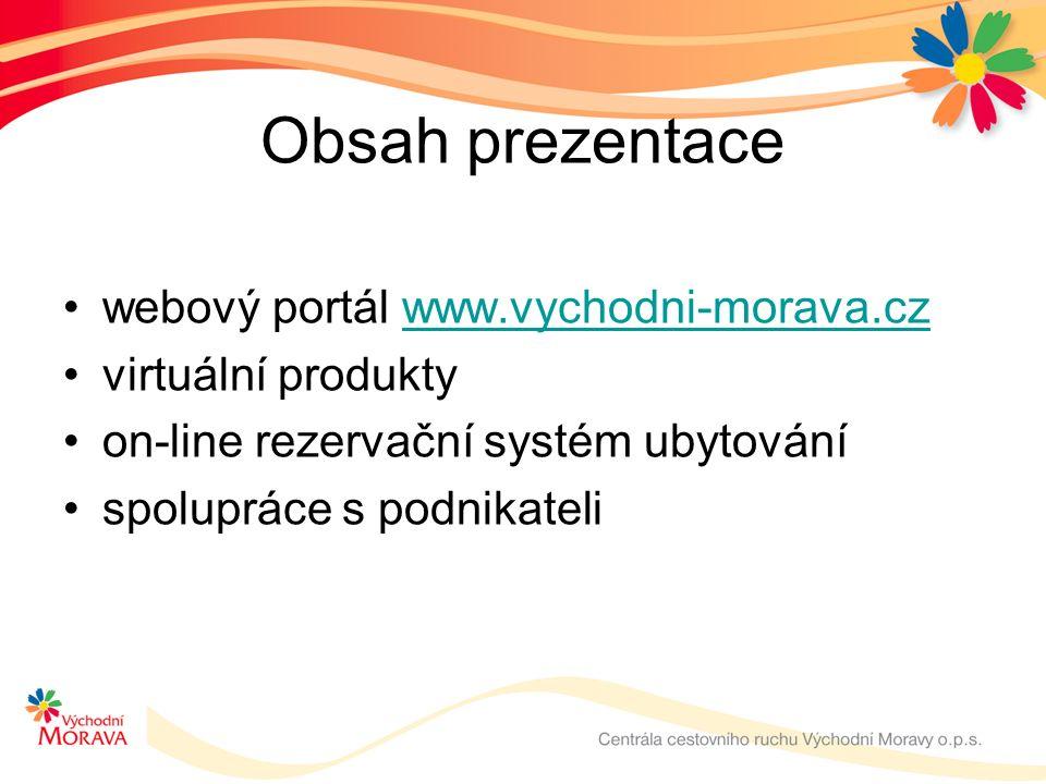 Obsah prezentace webový portál www.vychodni-morava.czwww.vychodni-morava.cz virtuální produkty on-line rezervační systém ubytování spolupráce s podnikateli