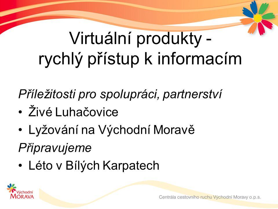 Virtuální produkty - rychlý přístup k informacím Příležitosti pro spolupráci, partnerství Živé Luhačovice Lyžování na Východní Moravě Připravujeme Léto v Bílých Karpatech