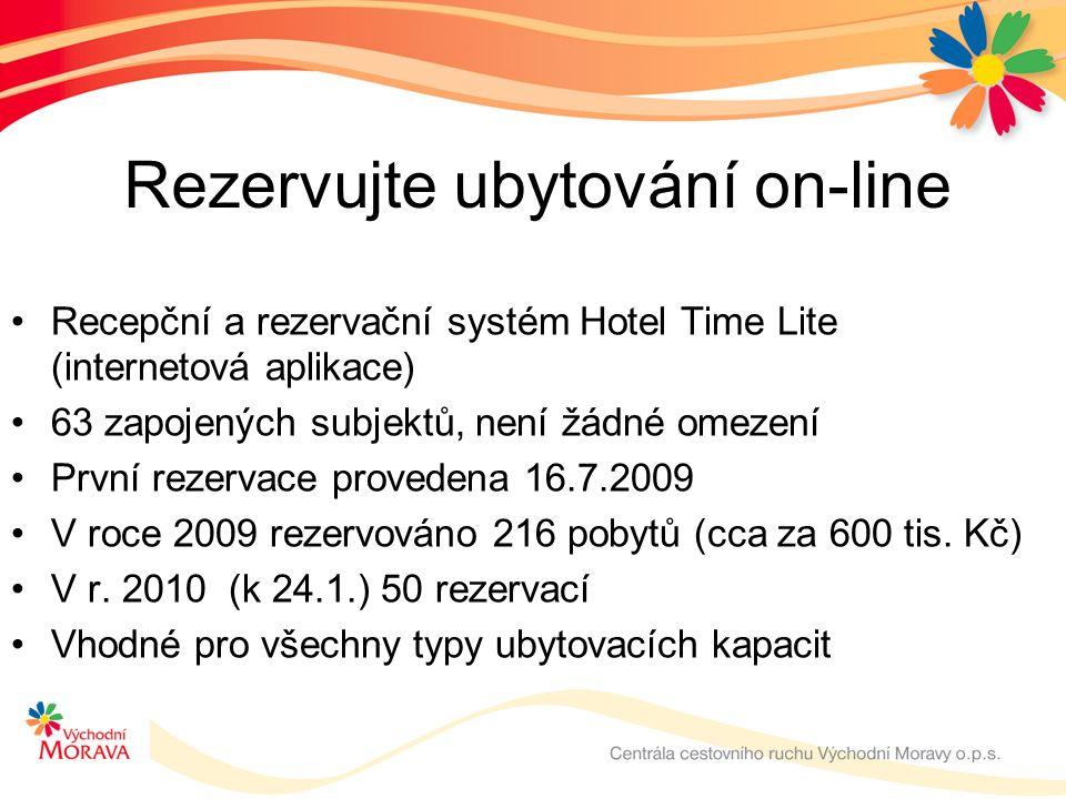 Rezervujte ubytování on-line Recepční a rezervační systém Hotel Time Lite (internetová aplikace) 63 zapojených subjektů, není žádné omezení První rezervace provedena 16.7.2009 V roce 2009 rezervováno 216 pobytů (cca za 600 tis.
