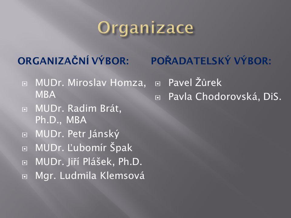 ORGANIZA Č NÍ VÝBOR:PO Ř ADATELSKÝ VÝBOR:  MUDr. Miroslav Homza, MBA  MUDr.