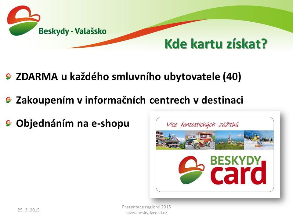 ZDARMA u každého smluvního ubytovatele (40) Zakoupením v informačních centrech v destinaci Objednáním na e-shopu 25.