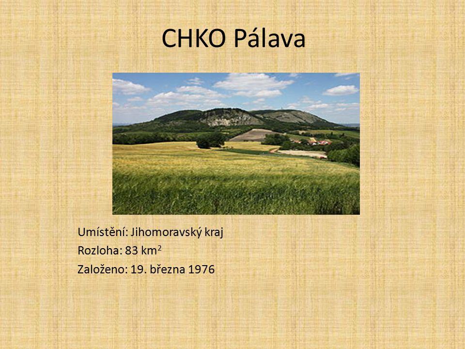 CHKO Pálava Umístění: Jihomoravský kraj Rozloha: 83 km 2 Založeno: 19. března 1976