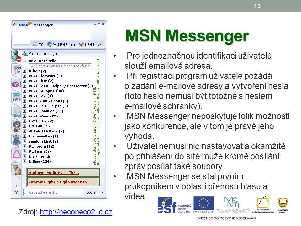 13 MSN Messenger Pro jednoznačnou identifikaci uživatelů slouží emailová adresa.
