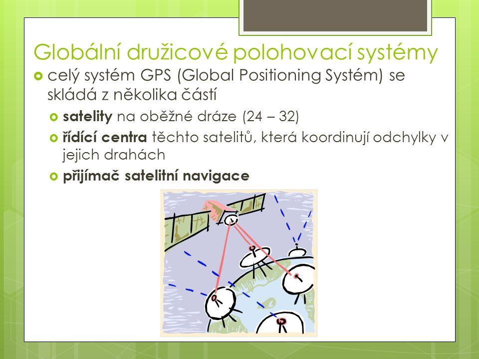 Globální družicové polohovací systémy  celý systém GPS (Global Positioning Systém) se skládá z několika částí  satelity na oběžné dráze (24 – 32)  řídící centra těchto satelitů, která koordinují odchylky v jejich drahách  přijímač satelitní navigace