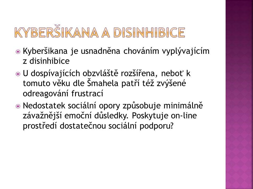  Kyberšikana je usnadněna chováním vyplývajícím z disinhibice  U dospívajících obzvláště rozšířena, neboť k tomuto věku dle Šmahela patří též zvýšené odreagování frustrací  Nedostatek sociální opory způsobuje minimálně závažnější emoční důsledky.
