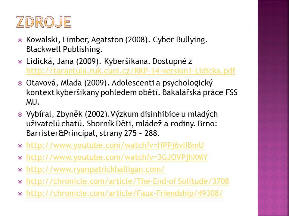  Kowalski, Limber, Agatston (2008). Cyber Bullying.