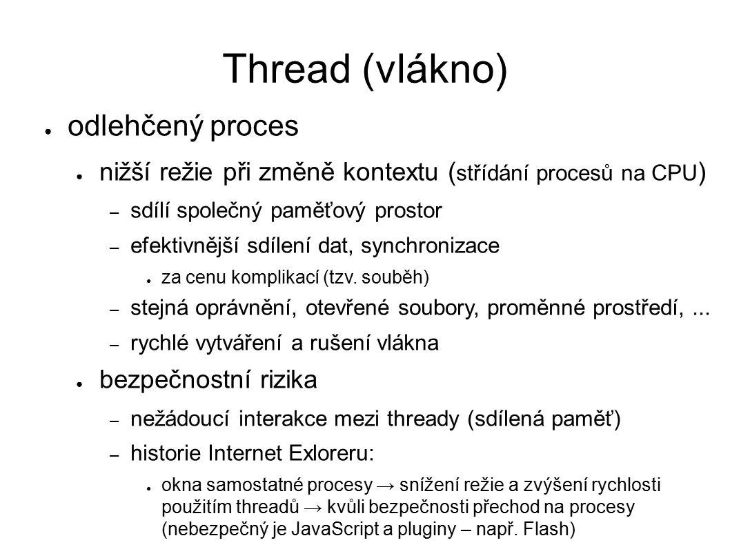 Thread (vlákno) ● odlehčený proces ● nižší režie při změně kontextu ( střídání procesů na CPU ) – sdílí společný paměťový prostor – efektivnější sdílení dat, synchronizace ● za cenu komplikací (tzv.