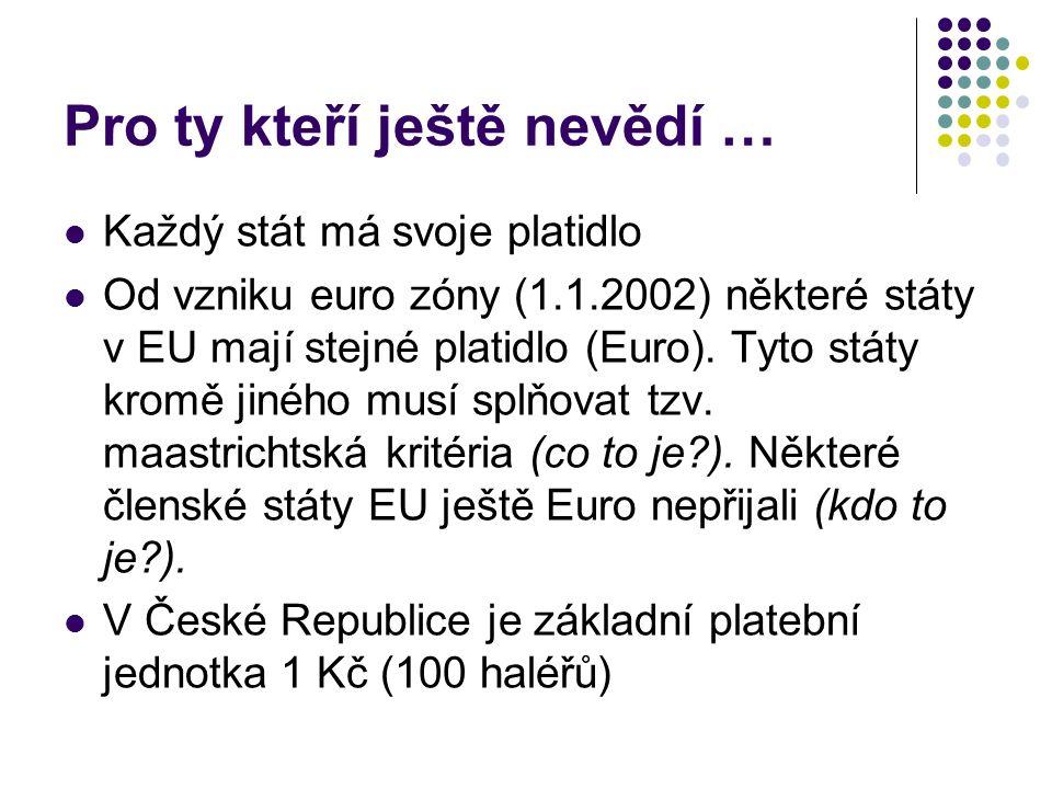 Pro ty kteří ještě nevědí … Každý stát má svoje platidlo Od vzniku euro zóny (1.1.2002) některé státy v EU mají stejné platidlo (Euro).