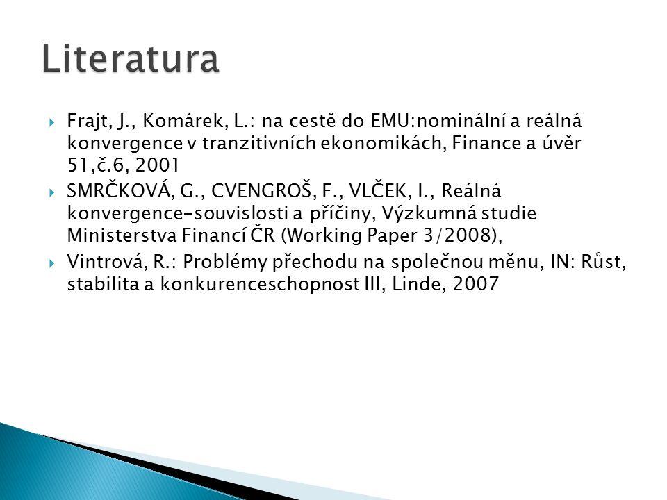  Frajt, J., Komárek, L.: na cestě do EMU:nominální a reálná konvergence v tranzitivních ekonomikách, Finance a úvěr 51,č.6, 2001  SMRČKOVÁ, G., CVENGROŠ, F., VLČEK, I., Reálná konvergence-souvislosti a příčiny, Výzkumná studie Ministerstva Financí ČR (Working Paper 3/2008),  Vintrová, R.: Problémy přechodu na společnou měnu, IN: Růst, stabilita a konkurenceschopnost III, Linde, 2007