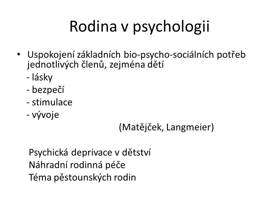 Rodina v psychologii Uspokojení základních bio-psycho-sociálních potřeb jednotlivých členů, zejména dětí - lásky - bezpečí - stimulace - vývoje (Matějček, Langmeier) Psychická deprivace v dětství Náhradní rodinná péče Téma pěstounských rodin