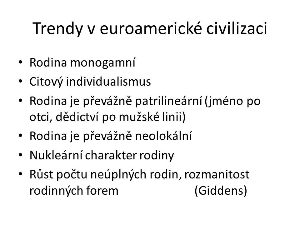 Trendy v euroamerické civilizaci Rodina monogamní Citový individualismus Rodina je převážně patrilineární (jméno po otci, dědictví po mužské linii) Rodina je převážně neolokální Nukleární charakter rodiny Růst počtu neúplných rodin, rozmanitost rodinných forem (Giddens)