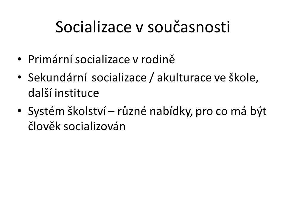 Socializace v současnosti Primární socializace v rodině Sekundární socializace / akulturace ve škole, další instituce Systém školství – různé nabídky, pro co má být člověk socializován