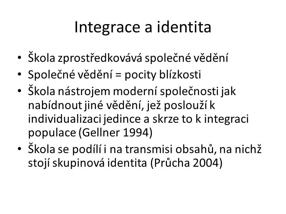 Integrace a identita Škola zprostředkovává společné vědění Společné vědění = pocity blízkosti Škola nástrojem moderní společnosti jak nabídnout jiné vědění, jež poslouží k individualizaci jedince a skrze to k integraci populace (Gellner 1994) Škola se podílí i na transmisi obsahů, na nichž stojí skupinová identita (Průcha 2004)