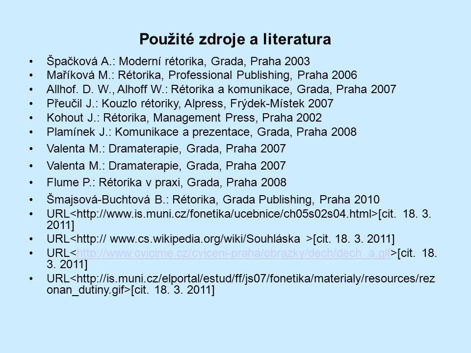 Použité zdroje a literatura Špačková A.: Moderní rétorika, Grada, Praha 2003 Maříková M.: Rétorika, Professional Publishing, Praha 2006 Allhof.